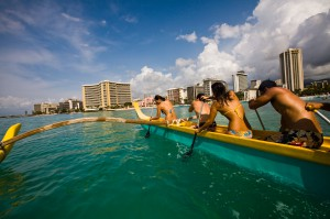 Oahu, Hawaii - Paddling a canoe off Waikiki beach