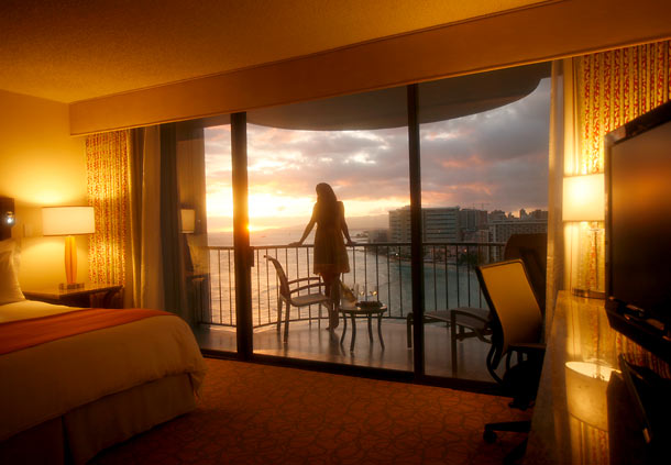 Hawaiian Islands of Oahu - Marriott Waikiki Guestroom - Sunset